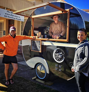 Conscious Coffee vintage caravan serving runners at the Dungog Ultra Trail event.