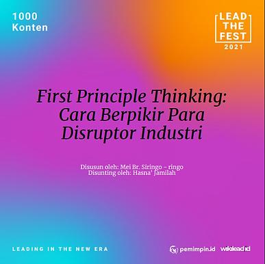 First Principle Thinking:  Cara Berpikir Para  Disruptor Industri