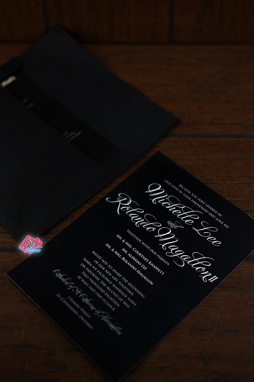 Home 2 pages main invite entourage page matte paper 1 free 4x3 rsvp page black envelope stopboris Choice Image