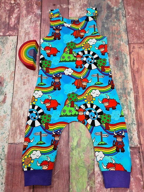 Highland cow rainbow dungarees 6-12 months