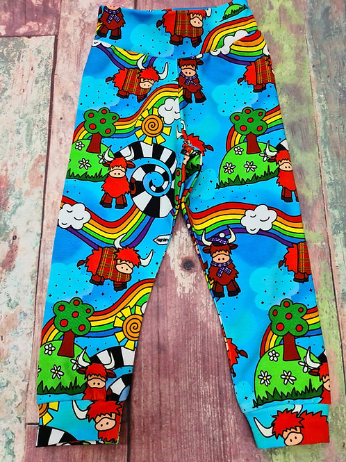 Highland cow rainbow relaxed leggings 6-12 months