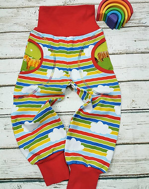 Children's pocket jogger pants stripes with clouds
