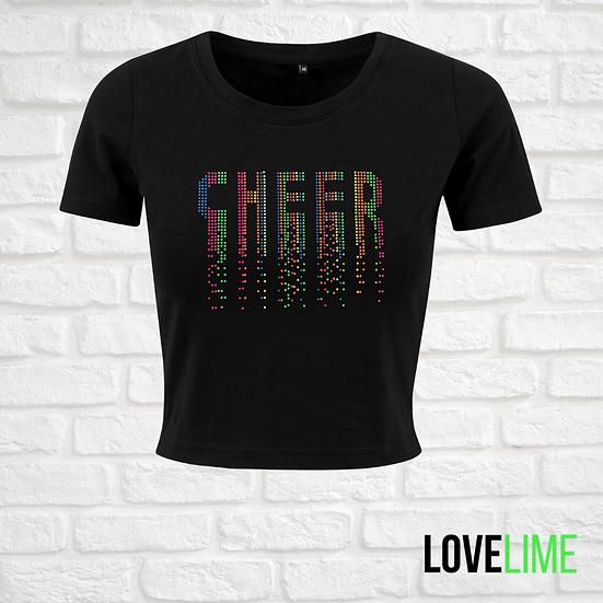 Neon Cropped Cheer Tee - Black