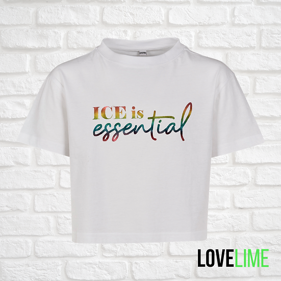'ICE is essential' White Cropped Tee