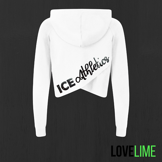 Adult White Cropped Cross Back Hoodie