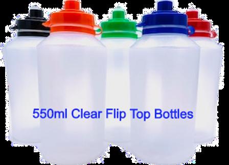Clear School Water Bottles - 550ml Flip Top Pk of 50 Bottles