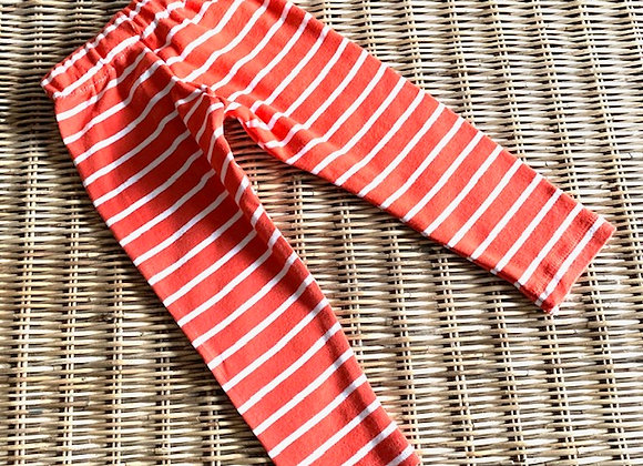 Upcycled Children's Orange and White Striped Leggings