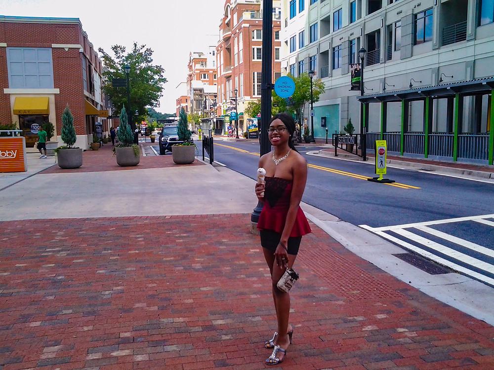 Sheisnovember by Msnovember Wearing A Dress At The Atlantic Station Eating Ice Cream In Atlanta Georgia Photo 2020