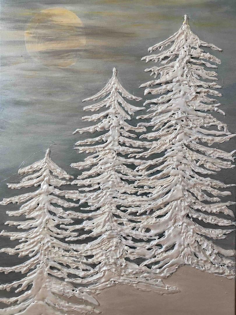 60x70 Snowy Pines