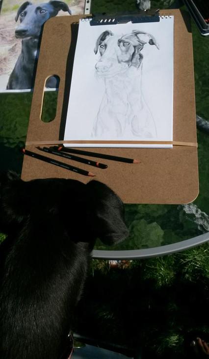The subject examines progress!