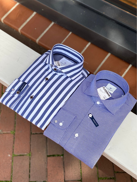 122. Blue Industry shirts LM streep €89,95, blauw €99,95