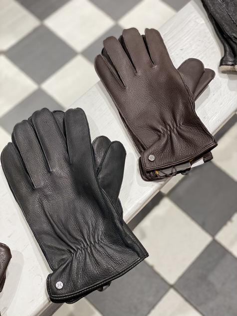 Handschoen leer zwart en bruin €99,95