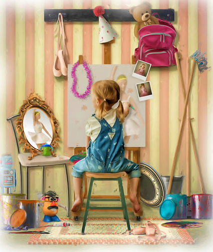 Whimsical picture taken of a young girl painting. Krista Berg Photography provides creative edits.