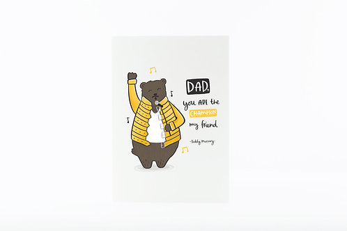 Teddy Mercury queen pun father's day card by abbie imagine