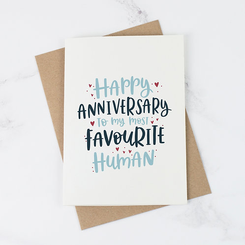 Most Favourite Human Anniversary Card