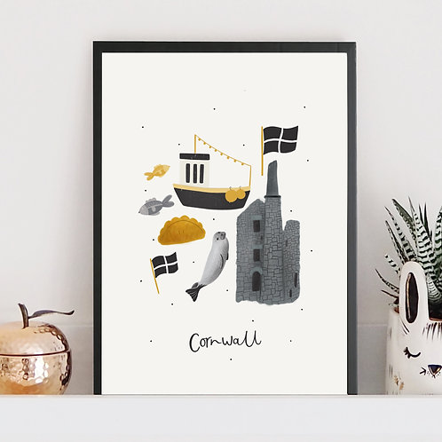 Illustrated Cornwall Print by Abbie Imagine