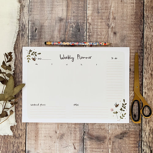 Weekly Desk Planner with bees and floral illustrations by abbie imagine