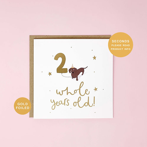 Two Whole Years Old Seconds Sale Birthday Greeting Card by Abbie Imagine