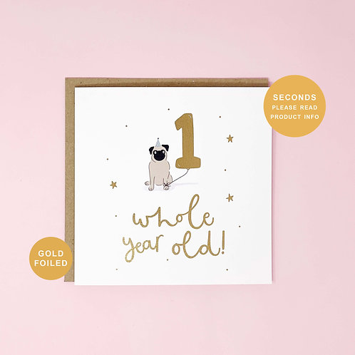 One Whole Year Old Seconds Sale Birthday Greeting Card by Abbie Imagine