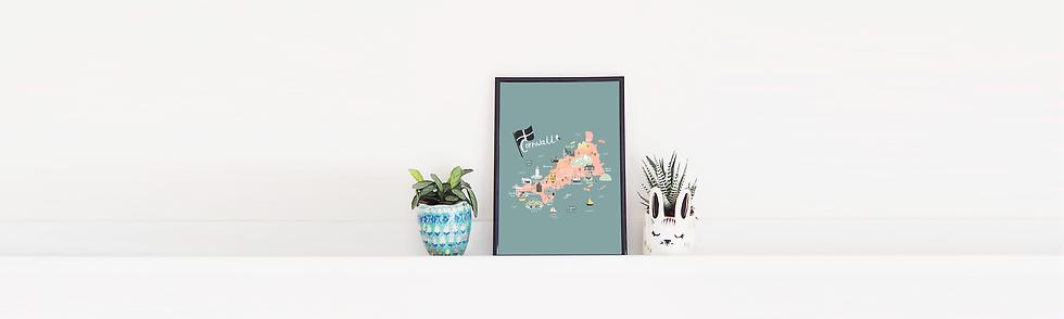 Cornwall Map Print by Abbie Imagine
