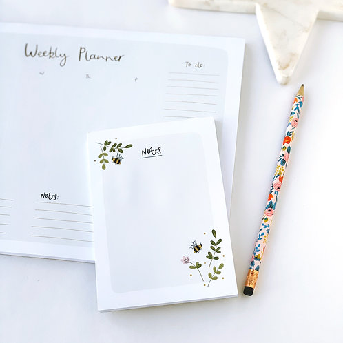 Floral Bee Notepad by Abbie Imagine