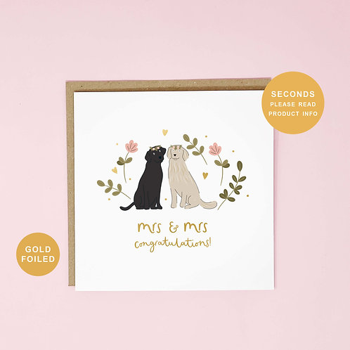 Mrs and Mrs Seconds Sale Wedding Greeting Card by Abbie Imagine