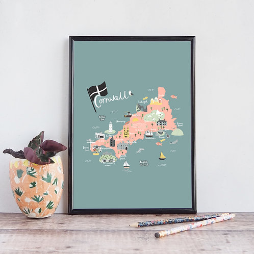 Illustrated Map of Cornwall by Abbie Imagine