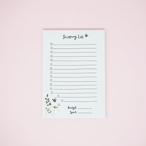 A6 flowers and bees shopping list notepad by abbie imagine