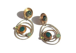 Green gemstone orbit earrings by Mogg Ro