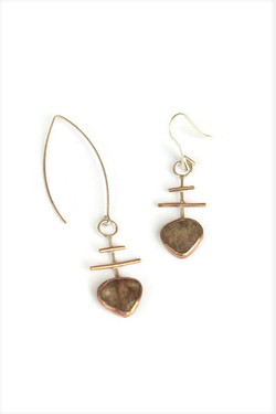 Golden rutilated quartz earring in sterl