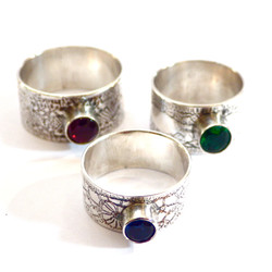 Patterned Stone Rings.