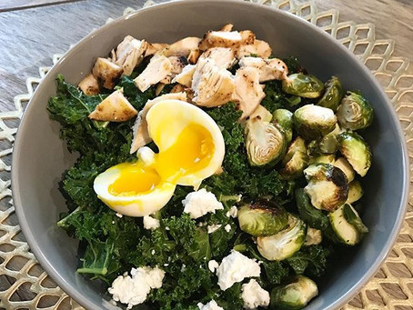 Kale Salad with Roasted Brussels, Grilled Chicken, Goat Cheese, Soft Boiled Egg and Shallot Vinaigre