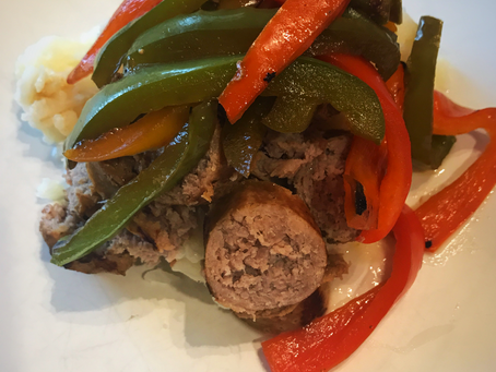 """Skillet Brats & Peppers with Cheesy Cauliflower """"Grits"""""""
