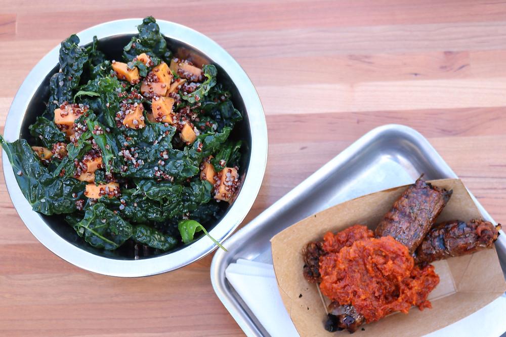 Quinoa Salad and Vegetarian Sausage