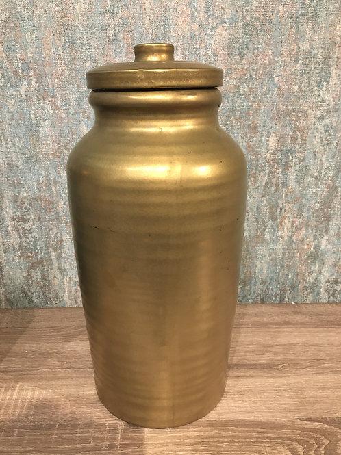 Gold ceramic jar