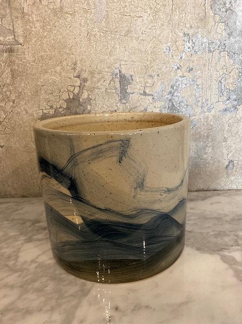 Blue marble effect pot