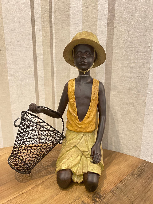 African boy with basket