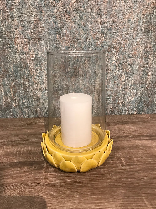 Mustard ceramic hurricane lantern