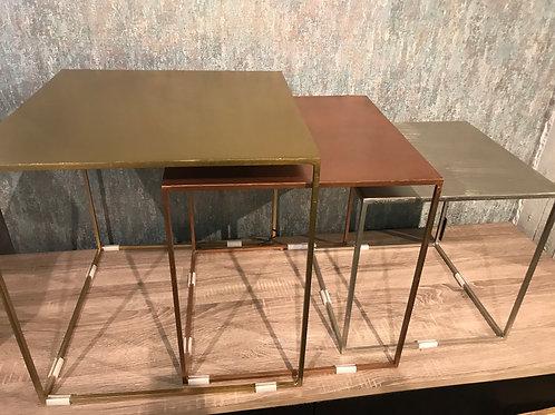 Raw finish side table set