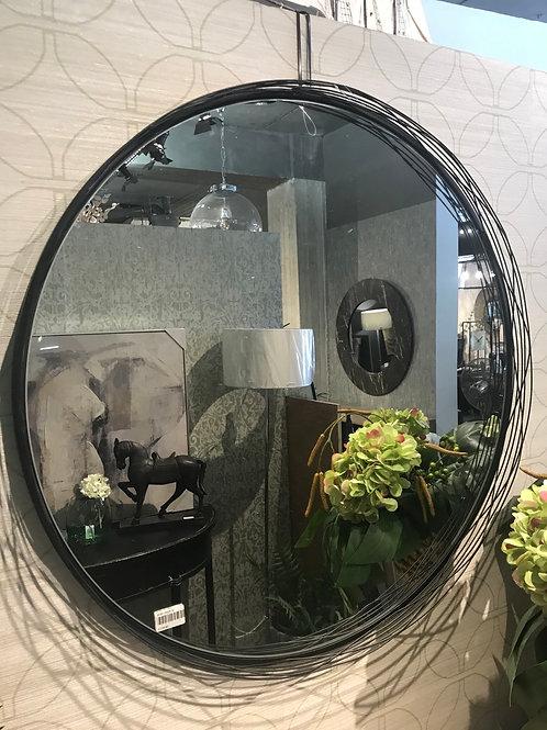 Round Black Wire Mirror
