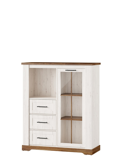 Country 1 door display unit with 3 drawers