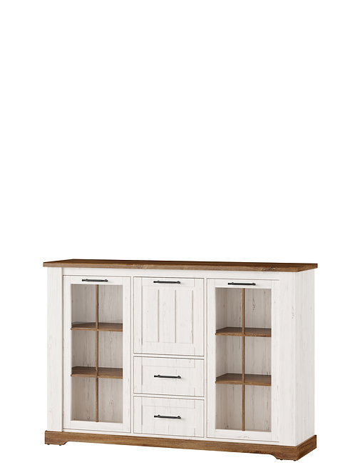 Country 2 Doors Cocktail Cabinet with 2 Drawers and Bar