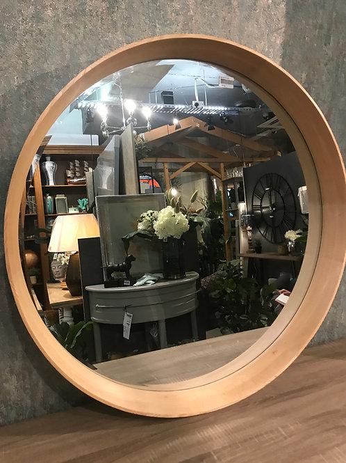 Oak round mirror