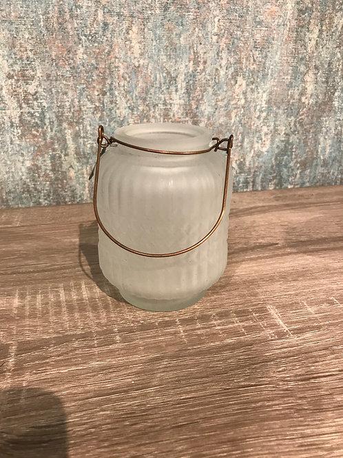 White glass teal light