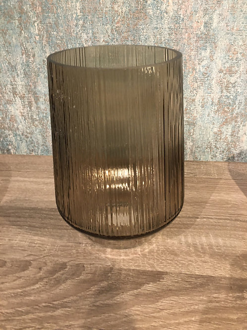 Gold ribbed glass vase