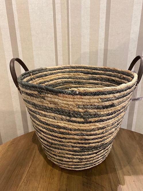 Medium Grey and natural woven basket