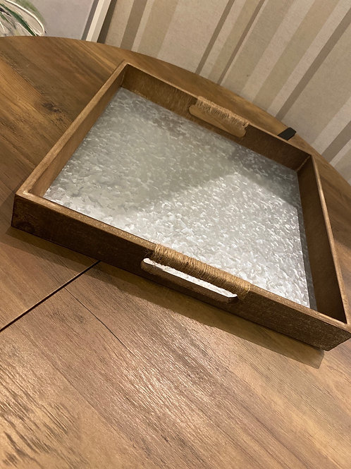 Zinc inlay wooden tray large