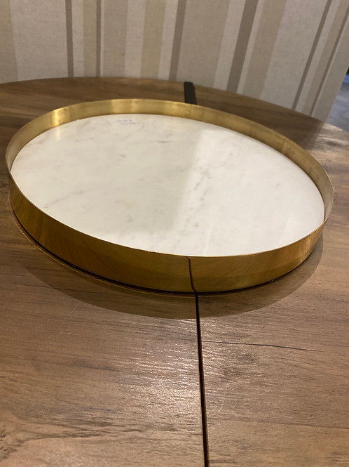 Brass tray with marble inlay
