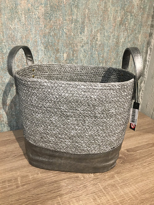 Grey Leather basket