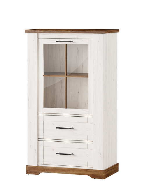 Country Left or Right 1 door display unit with 2 drawers